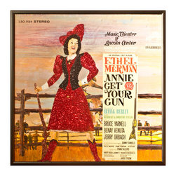 """Glittered Annie Get Your Gun Album - Glittered record album. Album is framed in a black 12x12"""" square frame with front and back cover and clips holding the record in place on the back. Album covers are original vintage covers."""