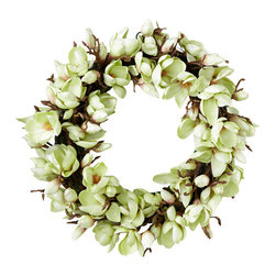 "Jane Seymour Botanicals - Tulip Magnolia Wreath, Light Green - Delicate magnolias are here one minute, gone the next. But with these ""forever flowers"" woven into a wreath, you can enjoy their creamy beauty anywhere in your home for as long as you like."
