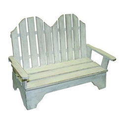 """Dr. Livingstone I Presume - Distressed Antique White Wood Love Seat by Dr. Livingstone I Presume - Perch one of your seated or lounging bathing beauties in this love seat. Either lounging to the side or sitting upright, there may be room for a small towel or pillow. Hand crafted from wood with a weathered whitewash finish. (DLIP) 16.75"""" wide x 8.5"""" deep x 12"""" high"""
