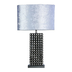 Cortesi Home - Luxor Table Lamp - The Luxor table lamp in a ceramic chrome base and is complimented with a white velvet shade. The lamp base features a pyramid stud design. Perfect for a desk or any accent table. UL approved. ON/OFF switch on  plug-in cord. 60W Bulb Max (not included)