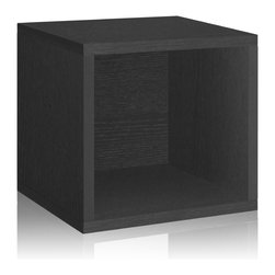 Way Basics - Way Basics Storage Cube, Black - Think inside the box! Create more space in close quarters with stackable modular storage cubes. Simple no-tool construction — just peel and stick — means you can build 'em in nothing flat. They're durable, versatile and formaldehyde- and VOC-free.