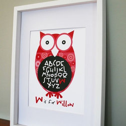 Owl Baby Nursery Art by Missprint Design - This little owl is adorable! It's a fun and whimsical print, and it's fully customizable with color and your child's name to boot.