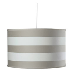 Striped Large Cylinder Pendant Light in Taupe