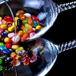 Calzphotography - Create your style - These jelly beans had been laying about for quite some time,no one wanted to eat then,so I made art out of them,by taking a goblet,putting the jelly beans inside it.I then placed it on its' side, on top of a mirror ,making sure the jellies were spilling out.I added a black back ground to set off the colorful candies.