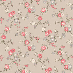 Rose Cottage Wallpaper: Taupe/Raspberry - This small scale climbing rose wallpaper complements the other floral papers in this collection.