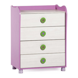 "Cilek - Cupcake Drawer - Cupcake drawer design integrates rounded lines and beautiful colors, has 4 drawers and adds style to the room with the fun mirror. Cupcake drawer is great addition to ""Pretty in Pink"" collection."