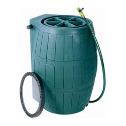 Achla - 54 Gallon Rain Barrel - Convenience in design and flawless function make this rain barrel an ideal option for any home. It features a debris catcher so water stays clean and a diverter to direct excess water away from your home. Comes with a four foot hose which fits neatly into a designated slot. Features safety grid and removable debris screen. Built-in 4 foot hose with thumb valve stores neatly in slot at top of the barrel. Overflow hose diverts excess water away from your house. Made of durable, UV-stable polyethylene. Link two