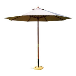 International Concepts - International Concepts 9' Octagonal Market Patio Umbrella in Natural - International Concepts -Patio Umbrellas -49147 -The rustically designed International concepts 9' market umbrella in natural provides shading from the harshness of the sun and would fit well in a yard with a classical aesthetic. The hardwood construction on the pole ensures that this piece will hold up well over the years. The collapsibility of the market umbrella would make it quite easy to mobilize.