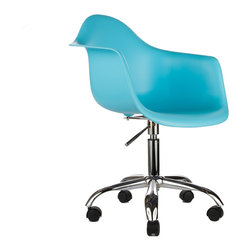 Office Arm Chair in Aqua - The Office Arm Chair combines one of our favorite designs with our most essential office need�a comfortable chair. It's perfect for adding both function and style to your workplace. The smooth polypropylene chair features a waterfall edge and deep seat. Perched atop a more traditional office chair base, complete with wheels for rolling back and forth at your desk, the chair makes for a comfortable perch from which to accomplish everything on the day's to-do list. Available in a variety of vibrant colors, this chair is sure to spark your next big idea.