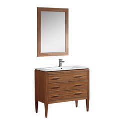 """Fine Fixtures - Fine Fixtures Complete Ironwood Vanity Collection, Red Zebra, 36"""", Vanity - Whether you have an open-floor design or need to make the most of a dynamic layout, Ironwood offers you a full lineup of three convenient sizes. Available in 24', 30' and 36', it features a look that touches on modern designs while retaining overlapping cues that help it match into a traditional bathroom as well. Regardless of the design era you are channeling, you'll appreciate the solid plywood construction and durable finishes. - You'll be enticed to grab the thin polished chrome handles that match the polished chrome strips. That's when you'll notice that the top drawer is in fact a pretty panel covering the fitted sink. The other two drawers offer lots of space, and a truly beautiful striped Zebra veneer makes Ironwood stand out in any setting. It's also available is a White color that's finished in matte lacquer. Both choices come with matching wood-trimmed mirrors, and are available with thicker or super slim grade AAA vitreous china sinks."""