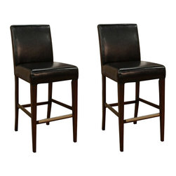 """American Heritage - American Heritage Highland 30 Inch Bar Stool in Brown (Set of 2) - Perhaps one of the most comfortable stationary stools on the market today. The 3"""" cushion sits on a woven web which will contour perfectly to your shape. The combination of toast colored bonded leather against the espresso frame will surely compliment any decor. What's included: Stool (2)."""