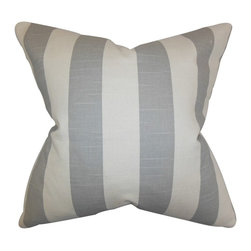 """The Pillow Collection - Acantha Stripes Pillow Gray 20"""" x 20"""" - Lend texture and dimension to your home with this throw pillow. This accent pillow features a classic stripe pattern in shades of white and gray. Decorate your sofa, bed or seat with a few pieces of this indoor pillow. Combine with solids and other patterns for a contemporary look. Made of 100% soft cotton fabric."""