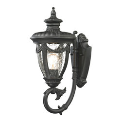 Elk Lighting - Elk Lighting Anise Collection 1 Light Outdoor Sconce In Textured Matte Black - 4 - 1 Light Outdoor Sconce In Textured Matte Black - 45075/1 in the Anise collection by Elk Lighting Classically inspired, the Anise collection has a solid cast aluminum construction with clear seedy glass and a Textured Matte Black finish.  The end of the arm has a soft petal floral design while a draping detail around the glass adds a traditional flair.  Outdoor Wall Sconce (1)