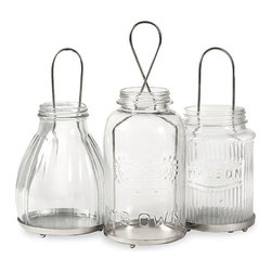 """IMAX - Spangler Jar Lanterns - Set of 3 - The Spangler collection of jar lanterns add a vintage feel to any home! Inspired by different mason jar styles, use multiples to light up the home for any celebration! Holds tealight candles. Item Dimensions: (4.25-6-7.5""""h x 4.5""""w x 4.5"""")"""