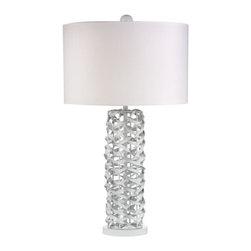 Dimond Lighting - Dimond Lighting D2535 Elgin 1 Light Table Lamps in Gloss White - Gloss White Metal Ribbon Lamp With White Shade