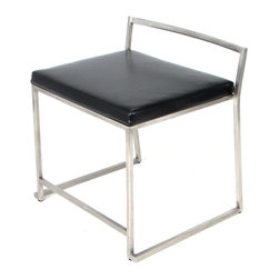 "Lumisource - Fuji Super Single Chair, Brushed Steel Frame, Black Seats - 19.25"" L x 22"" W x 23"" H"