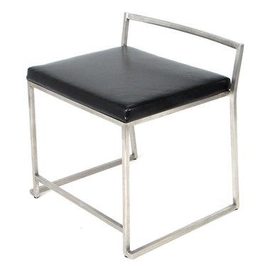 "Lumisource - Fuji Super Single Chair, Brushed Steel Frame, Black Seats - 19.25"" L x 22"" W x 23"" H"