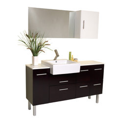 "Fresca - Fresca Serio Espresso Vanity w/ Mirror & Side Cabinet - Dimensions of vanity:  55.38""W x 19.63""D x 33.75""H. Dimensions of mirror:  35.38""W x 19.75""H. Dimensions of side cabinet:  15.63""W x 19.63""H x 8.63""D. Materials:  Solid Oak wood, ceramic sink with overflow, marble countertop. Soft closing drawers. Single hole faucet mount. P-trap, faucet, pop-up drain and installation hardware included. This handsome middle of Midtown Manhattan showroom floor vanity completes any setting with an espresso finish and chrome hardware and a large ceramic white basin. This no nonsense ensemble is perfect for any location with room to spare.  It has a super sleek look and feel and features a mirror and a side cabinet."
