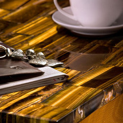 Tiger Eye Table - A table top made out of Sirena (tiger eye) from our gemstone surface collection.