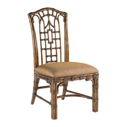 Lexington - Lexington Royal Kahala Pacific Rim Side Chair Set of 2 538-880-01 - Pan-Asian influenced bent rattan, with leather binding, in a golden tortoise shell finish. The upholstered seat is Coral Seas, a ginger color woven.