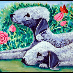 Caroline's Treasures - Bedlington Terrier Indoor Outdoor Mat 18X27 Doormat - Bedlington Terrier INDOOR / OUTDOOR FLOOR MAT This is available in either 18 inch by 27 inch or 24 inch by 36 inch Action Back Felt Floor Mat / Carpet / Rug that is Made and Printed in the USA. A Black binding tape is sewn around the mat for durability and to nicely frame the artwork. The mat has been permenantly dyed for moderate traffic and can be placed inside or out (only under a covered space). Durable and fade resistant. The back of the mat is rubber backed to keep the mat from slipping on a smooth floor. Wash with soap & water.