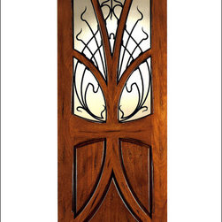 Art Nouveau Entry Doors Model # AN-2007 - Art Nouveau is an art, style, and architecture recognized around the globe.  This door and collection will set you apart from the rest while giving your home a very unique look.  These doors have fine carvings, iron work and most have a operable glass panel to facilitated the cleaning of the iron panel.  Look at the entire collection to find the right fit!