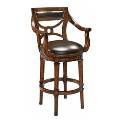 Ambella Home - Delaware Swivel Barstool - Mahogany barstool with elegant lines finished with rich leather accents on front, back and seat. (Leather subject to change)   Imported.