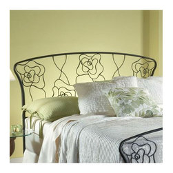"Hillsdale - Rose Metal Headboard - Hillsdale Furniture's whimsical Rose Bed features delicate styling and graceful lines. Inspired by the petals of a rose, this gracefully designed bed boasts a gently curved silhouette, a dynamic aged steel finish and intricate metal detailing. Features: -Rose collection. -Finish: Dynamic Aged Steel. -Intricate metal detailing. -Gently curved silhouette. Dimensions: -Full / Queen: 52.5"" H x 64.63"" W x 2"" D, 21 lbs. -King: 52.5"" H x 80"" W x 2"" D, 23 lbs."