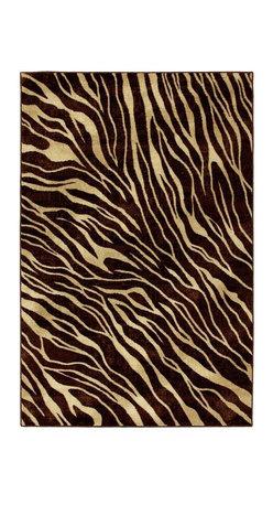 Mohawk Home - Mohawk Strata Watamu Dark Brown Animal Prints Zebra 5' x 8' Rug (58110) - Add interest to any room!