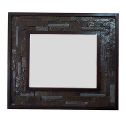 Fancydecor - Decorative oak wood frame with faux stone detail, 20x24 - Oak wood frame with decorative faux stones inside the frame for paints, pictures, glass, mirror.
