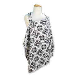 "Trend Lab - Nursing Cover - Versailles Black & White - Trend Lab's Versailles Black and White Nursing Cover provides the ability to nurse discreetly while remaining fashionable. This cotton twill cover features a black damask print on a white background. Cover features an adjustable neck strap with D ring for a comfortable fit. Collar can be positioned to view baby while nursing. Measures 24"" x 34"". One size fits most."