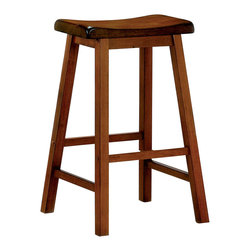 Adarn Inc - Transitional Wooden Black Finish  Bar Stool, Oak - With casual and simple designs, this bar stool will make a great addition to a relaxed environment in your home. The wooden composition consists of shapely scooped seating, straight wood legs and a sleek black finish. Whether you need extra seating for guests or want to create a casual dining atmosphere, this bar stool offers a humble style that is sure to mix well with existing decor.
