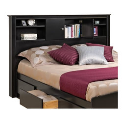 Prepac - Prepac Kallisto Full / Queen Bookcase Headboard in Black Finish - Prepac - Headboards - BHFX03021 - Give your bedroom a touch of elegance with the Kallisto Bookcase Headboard with Doors. This practical headboard boasts stylish details like decorative side and top moldings and oval brushed nickel knobs. The doors fitted with 6-way adjustable self-closing hinges provide a neat hideaway for any possessions you want within reach yet out of sight and are flanked by two additional compartments for even more storage. This piece perfectly complements double and queen bed frames and matches Prepac'۪s Platform Storage Beds. The headboard is finished in a long-lasting deep black laminate.
