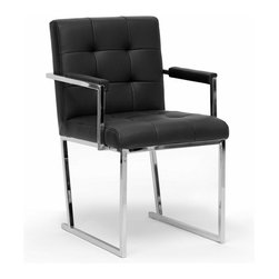 Baxton Studio - Baxton Studio Collins Black Mid-Century Modern Accent Chair - Though the years have passed, the innovative style of the mid-1900s still pervades our culture, as is evident in the design of our Collins Accent Chair. This mid-century club chair is made with a chrome-plated steel frame, an iconic material for furniture construction during that time. A black bonded leather seat and armrests are padded with foam cushioning. Made in China; fully assembled. To clean, wipe with a dry cloth. This style is also offered in ivory (sold separately).