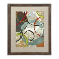 Uttermost - Away We Go Modern Art - Embrace the reclaimed look with this framed piece of art. Black and brown undertones add to the distressed look of the frame, while the contemporary artwork contained within is cast in a rainbow of muted tones — making it the ideal choice for a modern interior.