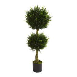 4' Double Ball Cypress Topiary UV Resistant (Indoor/Outdoor) - The double ball topiary is one of our favorite decorating pieces. It signifies not only nature's beauty, but also gardening skill. This wonderful Cypress double ball topiary is perfect in every way, looking like it was just trimmed, and makes an interesting home or office decoration. Fully UV resistant, it'll find a home anywhere - even your back patio. Makes a fine gift as well. Height= 4 Ft. x Width= 18 In. x Depth= 18 In.