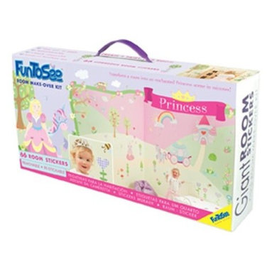 """FunToSee - Princess Girls Nursery and Bedroom Make-Over Decal Kit - Transform a whole room into a fairy tale garden in minutes and bring a room to life, with these easy peel and stick room decorations. Each wall sticker kit contains 4 HUGE sheets filled with oversize, vinyl decals. Peel and position each removable decal wherever you like to create your own fantastic themed room. Change the look whenever you like - quickly, easily and without making any mess. It's as easy as Peel – Stick – Decorate. Quick to apply, cleanly removable, changeable, splash-proof and washable. Simply peel each pre-cut decal and apply to a clean, dry surface - walls, doors, furniture, bathrooms and more. No tack, tape, pins or paint required. There's no mess and the results are amazing, giving the affect of a hand-painted mural. Thanks to a unique adhesive, the images can be moved from place to place without damaging walls or furniture. So, when you are ready for a new look, just peel off stickers and refresh with a new FunToSee theme. Ideal for home, school, creche, hospital, kids' clubs and more. The kit includes 66 princess themed room decals, including - Princess Sweetheart (16""""), Cupcake Castle (21.6""""), Unicorn and Carriage (up to 21"""" ), Apple and Blossom Trees (up to 22.5""""), Apple Tree Branches (23.6""""), Rainbow and Sun (25""""), 12 Heart-shaped Raindrops (1.2""""), Frog on a Lily Pad (10.2""""), 4 Patterned Flowers (10.4""""), 5 Flower Clusters and 2 Shrubs (up to 7.3""""), 3 Butterflies and 2 Dragonflies (up to 4""""), 6 Topiary Trees (10.6""""), Flower Vine (18.8"""") and Scene Setters - 6 Princess Bows, 3 Toadstools, 3 Fluffy Clouds, 2 Bees, 3 Birds and 6 Love Hearts. All this in a lovely presentation box with carry handle. You can even copy our layout design identically from the box. It's so easy ... Peel each decal from the set and apply wherever you wish to create a fairy tale room."""