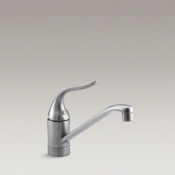 "KOHLER - KOHLER Coralais(R) single-hole kitchen sink faucet with 8-1/2"" spout and lever h - Add style and functionality to everyday tasks with the durable Coralais kitchen sink faucet. This faucet features a swing spout to accommodate pots and pans, while a single lever handle and one-piece ceramic valve offer precise water temperature and volum"