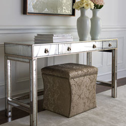 "John-Richard Collection - John-Richard Collection ""Marissa"" Mirrored Console - Add a bit of Hollywood glamour to the room with this stunning mirrored console with the added option of a built-in electrical outlet. From the John-Richard Collection. Handcrafted of acacia wood, wood composite, and eglomise mirrors. Hand-painted anti..."