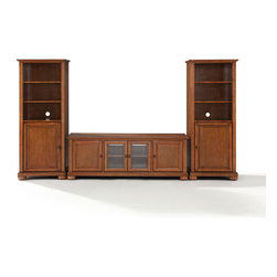 "Crosley - Alexandria 60"" Low Profile TV Stand and Two 60"" Audio Piers - Dimensions: 18 x 59 x 57 inches"