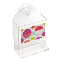 Printed Acrylic Cotton Swabs Dispenser + 2 Suction Pads Eclats Multicolor - This printed cotton swab dispenser Eclats for bathrooms is in clear acrylic with colored round patterns. It has 1 suction pad that can easily be fixed to your tiles or mirrors. A bottom opening dispenses cotton swabs. Filling through the top. Length 5.12-Inch, width 3.74-Inch and height 1.97-Inch. Wipe clean with a damp cloth. Color multicolor. This dispenser is ideal to keep and dispense cotton swabs and to add an elegant design to your bathroom! Complete your decoration Eclats with other products of the same collection. Imported.