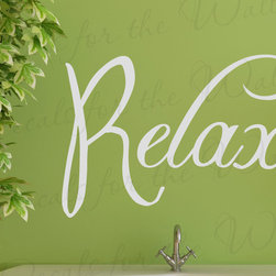 Decals for the Wall - Wall Decal Sticker Quote Vinyl Lettering Adhesive Graphic Relax Bathroom BA09 - This decal says ''Relax''