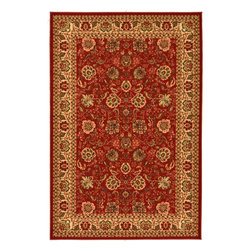 None - Dark Red Traditional Floral Design Non-skid Area Rug (5' x 6'6) - Add traditional accents to your contemporary home decor with this bold area rug. This unique rug features a deep red background,with a classic beige floral pattern that will add a splash of color to any room.