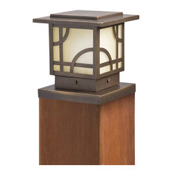 LANDSCAPE - LANDSCAPE Larkin Estate Traditional Outdoor Post Lantern Light X-ZO47451 - Mission inspired styling is clear in this Kichler Lighting outdoor post lantern light from the Larkin Estate Collection. The umber etched glass panels are a perfect backdrop to the geometric patterns which are highlighted by a deep Olde Bronze finish.