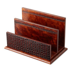 NM EXCLUSIVE - Brown Crocodile-Print Leather Letter Rack - NM EXCLUSIVEBrown Crocodile-Print Leather Letter Rack