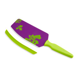 Kuhn Rikon - Kuhn Rikon Cut and Scoop Flexi Spatula Knife Purple with Green Print - With the Kuhn Rikon Flexi Spatula Knife, cutting and scooping up your minced, diced or cubed vegetables is super easy! With this one tool you can cut onions, carrots, potatoes, herbs and more. Then scoop diced, minced or cubed vegetables from your cutting board to your pot or bowl with ease.