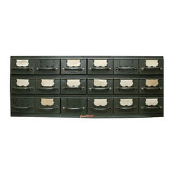 Used Equipto Multi Drawer Hardware Cabinet - Use this perfectly proportioned card catalog in your living room, office or bathroom. Narrow enough to hug any wall, the top would also be an excellent work surface or a surface to set up your television. We love the industrial patina care of the 1940s.