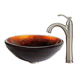 Kraus - Kraus Prometheus Glass Vessel Sink and Riviera Faucet Satin Nickel - *The distinctive dark color of the Prometheus sink has fiery accents of red and gold, giving it visual depth and creating a dynamic surface for flowing water. Pair it with a Riviera faucet in satin nickel for a softer, transitional look