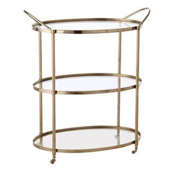 Arteriors Connaught Polished Nickel Glass Bar Cart - It would almost be impossible NOT to have a fabulous party with this stunning bar cart working the room for you. Just make sure your glassware, cocktail shaker, ice bucket and liquor bottles are fabulous enough to earn a spot on it.
