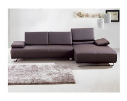 White Line Imports - Emotion Sectional w Right Arm Chaise (Brown) - Choose Upholstery: BrownLeather upholstered. 110 in. W x 65 in. D x 30 in. H (124 lbs.)